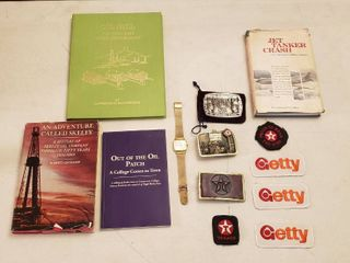 Texaco   Getty Items   Books  Belt Buckles  Patches  and 10k Rolled Gold Retirement Hamilton Watch