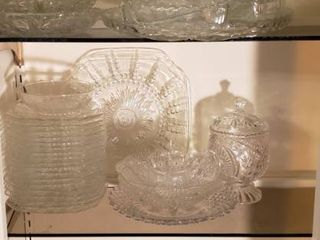 Clear Pressed Glass   Serving Dishes  Snack Set  and Plates   Bowls   Bring boxes to load out