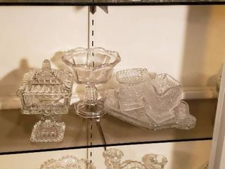 Clear Pressed Glass   Serving Dishes Plates  Bowls  Candle Holders and Creamer   Sugar Sets   bring boxes to load out