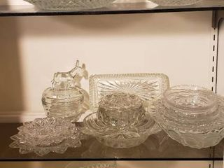 Clear Pressed Glass   Serving Dishes  Plates  Bowls and Creamer   Sugar Set   Bring Boxes to load out