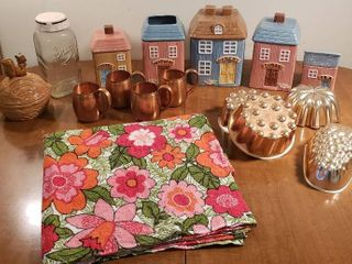 Ceramic Kitchen Canisters  Decorative Canning Jar  Squirrel Nut Dish  Vintage Terry Floral Tablecloth  Copper Molds and 4 Copper Mugs