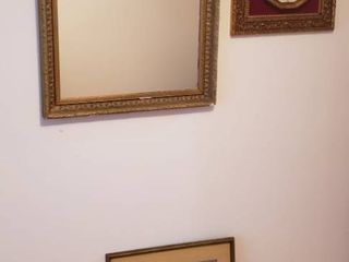 Gold Framed Mirror  27 x 32 in  Gold Framed Battery Operated Clock  18 x 18 in  and 3 Asian Prints