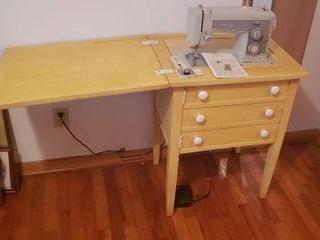 Sears Kenmore Sewing Machine  Model 1941  in Yellow Cabinet   works   23 5 x 18 5 x 31 in  tall  closed  and Brass   Amber Glass Table lamp   14 in  tall