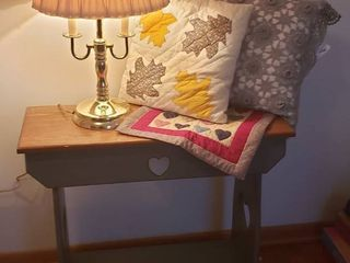 30 x 11 x 27 in  tall and 3 way Brass Dual lite Touch lamp   20 in  Square Quilted Sampler   2 Throw Pillows