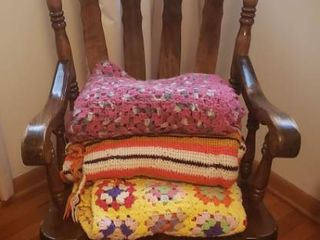 Vintage Wood Rocker   24 x 35 x 46 in  tall and 3 Afghan Throws