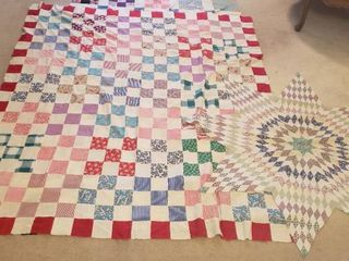 Old Quilt Toppers   Star  55 in    Squares  68 x 80 in  and Checker Board  53 x 91 in