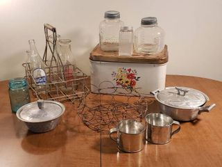 Vintage Kitchen Items   Metal Bread Box  Wire Rack w  Bottles  Vintage Jars  Wire Egg Basket  Tin Cups and Aluminum Service Ware