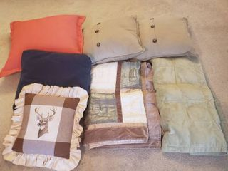 2 Throws and 5 Throw Pillows
