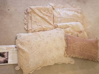 Hand Crocheted Queen Bedding Collection by Keeco and Extra Throw Pillow