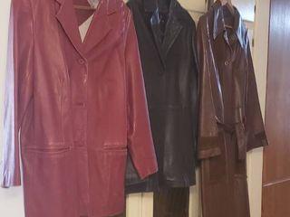 3 ladies leather Coats   Size large