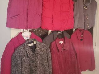 5 ladies Jackets and 3 Vests   Size large   Xlarge
