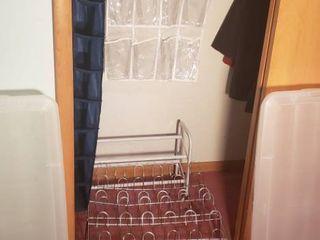 4 Floor Shoe Racks  2 Hanging Racks  and 2 Rubbermaid Wrap N Craft Totes