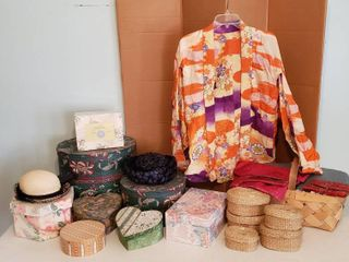 Decorative Hat   Storage Boxes  2 Vintage ladies Hats  Nestled Baskets  Colorful Oriental Jacket  Med  and Jewelry Travel Cases