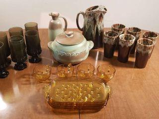 Set of Drip Glaze Tumblers   Pitcher  Frankoma Bean Pot   Oil Pitcher  Amber Snack Set and Dark Green Tumbler Glass Set