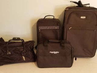 4 Pcs  of Black Nylon lUGGAGE   3 Roller Bags   a Carry ons
