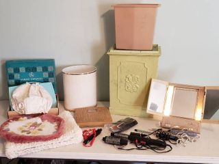 Bathroom   Beauty Items   Hamper  trash Cans  Rugs  Scale  lighted Mirror  Vintage Hair Dryer and Combs  Curling Irons