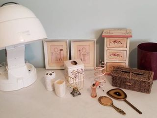 Bathroom Decor  Conair Prostate 1600 Hair Dryer  Vintage Mirrors  holders and perfume bottle