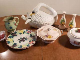 Swan Ceramic Soup Tureen  lidded Bowls  Platter  Pitcher and Bowls