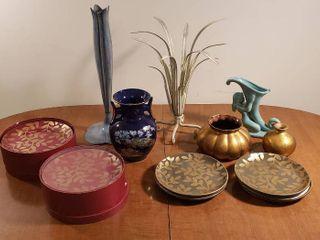 3 Sets of Appetizer Plates  4 per set  and Vases  metal   ceramic