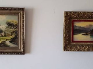 Convex Glass Framed Artwork   15 5 x 13 in  and 14 75 x 10 75 in