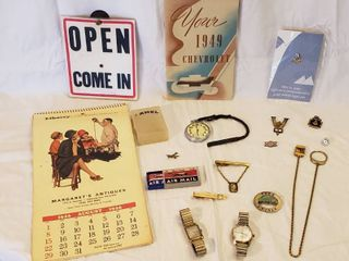Vintage Men s Pins  Watches  Watch Fob  Pocket Watch  Vintage 1949 Chevrolet Manual  and Calender Open Sign