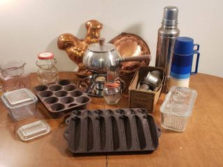 Vintage Kitchen Items   Copper Molds  Fondue Pot  Thermos  Grinder  Cast Iron Pans  Refrigerator Dishes  NUT Grinder  and Sunburst Glass Pitcher