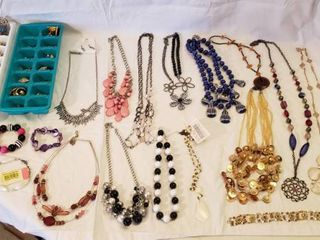 Costume Jewelry   Necklaces  Bracelets and Earrings   Trays Included