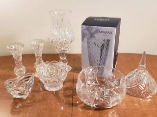 Crystal Vases  Bowls  and Candleholders
