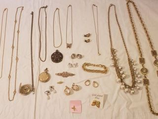 Goldtone Costume Jewelry  Earrings  Necklaces  locket Watches  Pins and Bracelet