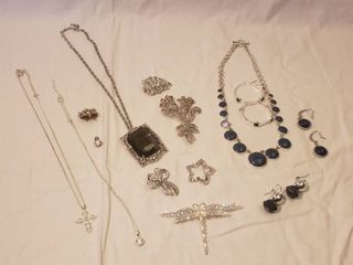 Rhinestone Costume Jewelry  Earrings  Necklaces  Pins and Brooches   one necklace missing a disc