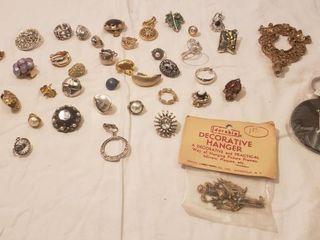 Single Earrings  Vintage Metal Hanger  Brass Finial and Chelsea Monogram Keyring