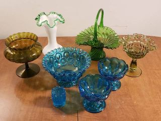 Colored Glass Dishes  Basket  Vases and Toothpick Holder