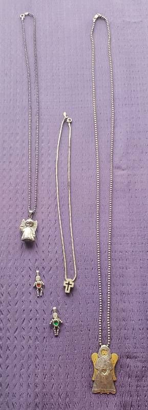 925 Silver Necklaces and 2 Child Charms