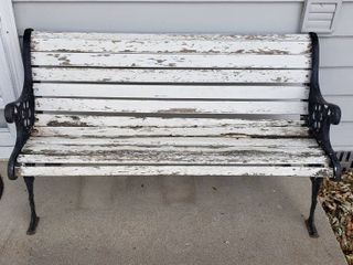 Cast Iron   Wood Bench   50 x 24 x 28 in  tall   couple slat rotting on one end