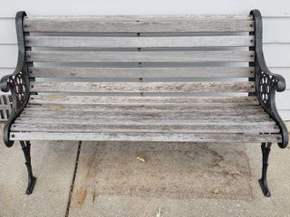 Cast Iron   Wood Bench   50 5 x 25 x 30 in  tall   needs tightened