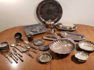 Silverplated Serving Items   Platters  Dishes  Bowls  Coasters  and Utensils