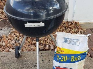 Weber Charcoal Grill  23 in  diameter x 39 in  tall  20 lb  bag of Kingsford Charcoal