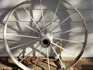 Steel Wheel   36 in  diameter   3 in  thread   Heavy
