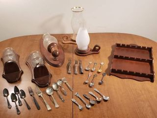 Wood Wall Candle Holders w chimneys  Candle lanterns  Vintage Silverware  Collector Spoons   Wall Display and Kids Utensils