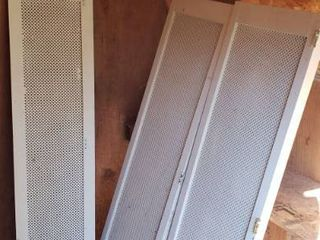 2 Sets of Hinged Panels  each panel  17 x 55 in  and Single Panel  13 x 55 in    damaged one corner