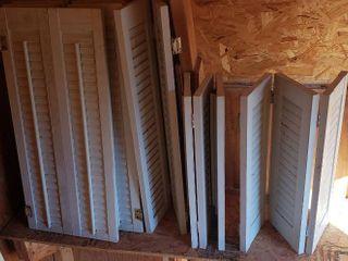 3 White Pair of Bi fold Shutters  each half  12 x 28 in      1 Pair of Tri fold Shutters  each half  20 x 20 in