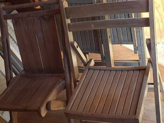 4 Wooden Fold up Chairs   3 Curved Back   1 Straight Back