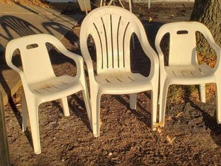 3 White Plastic lawn Chairs