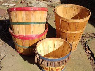 4 Wooden Bushel Baskets   Tallest one is 19 in  tall