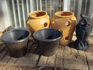 Plastic Pots and Owl Decoy   2 Basket Weave 10 in  diameter  2 Strawberry  15 in  tall  and Owl  16 in  tall