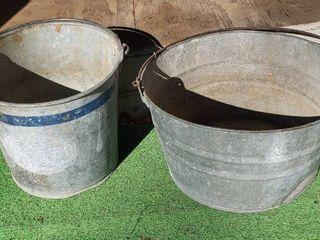 2 Galvanized Metal Buckets   11 in  and 14 in  diameter