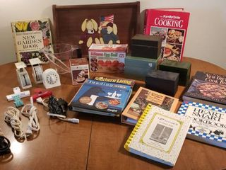 Kitchen Items   Serving Tray  Recipe Card Boxes  Cookbooks  Scales  Timers  Measuring Cup  and Extra Appliance Cords