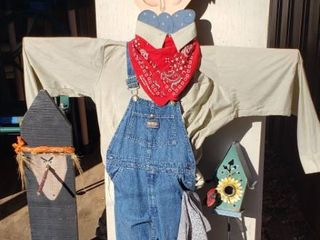 Fall or Garden Decor   6 ft  Scarecrow  3 ft  Witch or Gnome and 3 ft   Metal Birdhouse on Stake