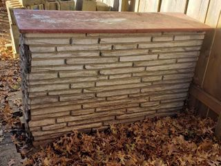 Faux Stone and Metal Top Half Wall   58 x 18 x 36 in    HEAVY   couple corners cracked or missing some material