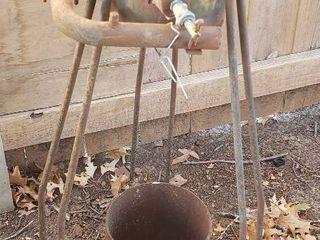 Vintage Metal Gas Burner  Cooker W 3 legs